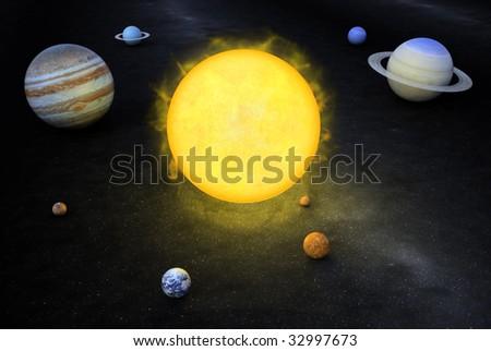 Solar system 3D illustration. - stock photo