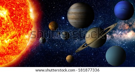Solar system (Elements of this image furnished by NASA) - stock photo
