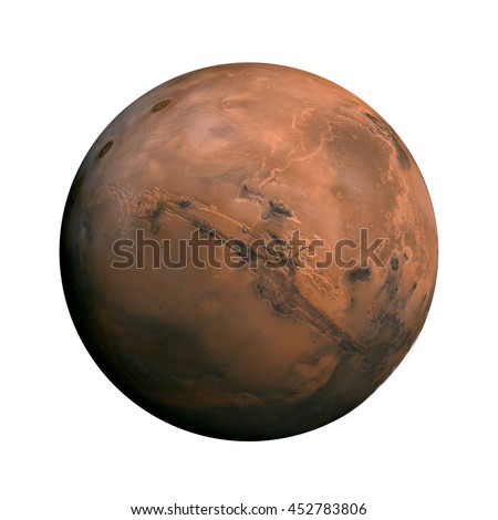 Solar System - Mars. Isolated planet on white background. Elements of this image furnished by NASA - stock photo