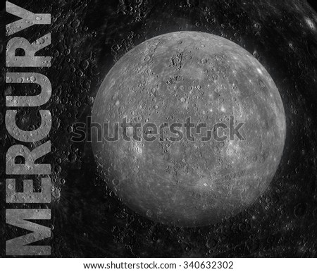 Solar System - Mercury. It is the smallest and closest to the Sun of the eight planets in the Solar System, with an orbital period of about 88 Earth days. Elements of this image furnished by NASA. - stock photo