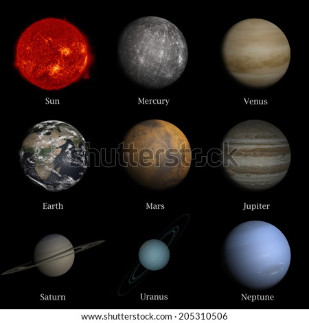 "Solar system named in english   ""Elements of this image furnished by NASA"" - stock photo"