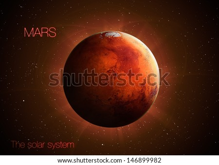 Solar System - Planet Mars. Elements of this image furnished by NASA - stock photo