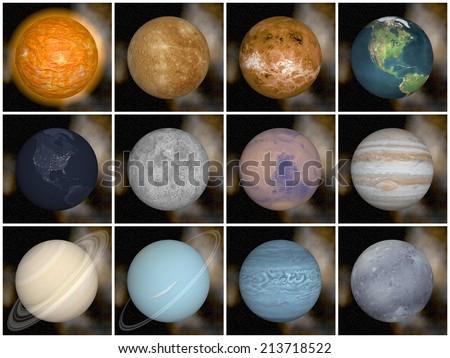 Solar system planets as sun mercury venus earth moon mars jupiter saturn uranus neptune pluto, elements of this image furnished by NASA- 3D render - stock photo