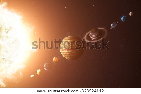 Solar system planets. Elements of this image furnished by NASA - stock photo