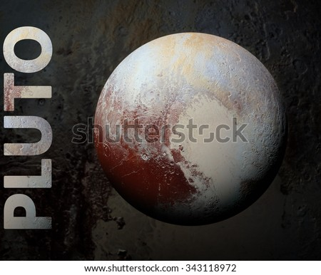 Solar System - Pluto. It is a dwarf planet in the Kuiper belt, a ring of bodies beyond Neptune. It is the largest known dwarf planet in the Solar System. Elements of this image furnished by NASA. - stock photo