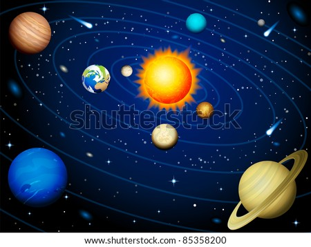 Solar system  - raster version - stock photo