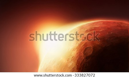 Solar System - Red Planet Mars with Sun on Horizon. Art Scenic Illustration of Mars from Cosmos Orbit. - stock photo