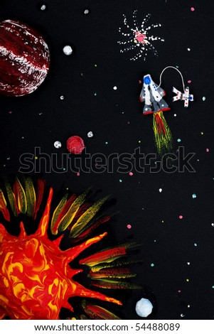Solar system, spaceship, astronaut, planets, sun, comets - stock photo