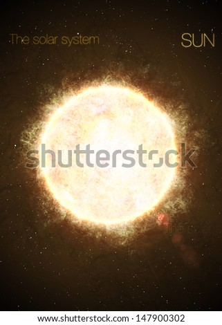 Solar System - Sun. Elements of this image furnished by NASA - stock photo