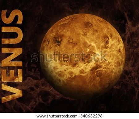 Solar System - Venus. It is the second planet from the Sun. It is a terrestrial planet. After the Moon, it is the brightest natural object in the night sky. Elements of this image furnished by NASA. - stock photo