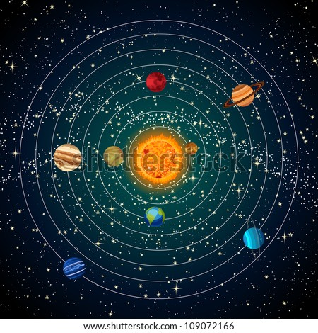 Solar system with sun, planets and stars. - stock photo