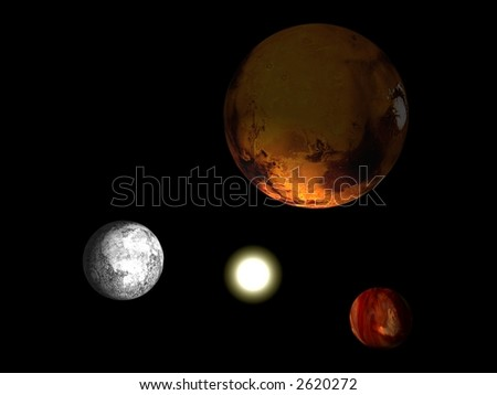 Solar system with three planets and a sun isolated on black - stock photo