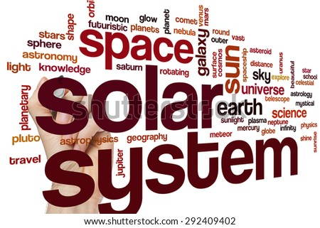 Solar system word cloud concept - stock photo
