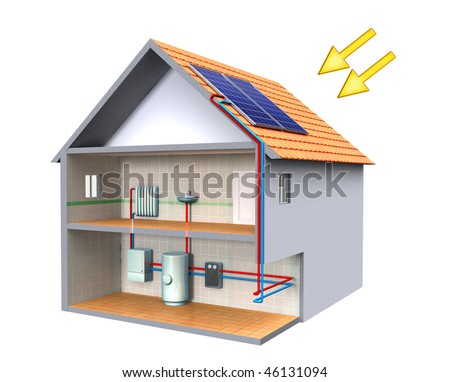 Solar thermal energy system in a modern house. Digital illustration, clipping path included. - stock photo