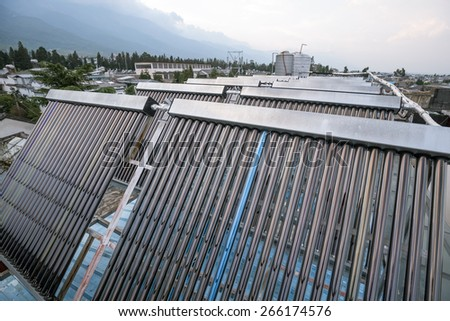 Solar water heater - stock photo