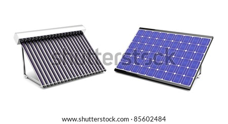 Solar water heater and solar panel for electricity - stock photo