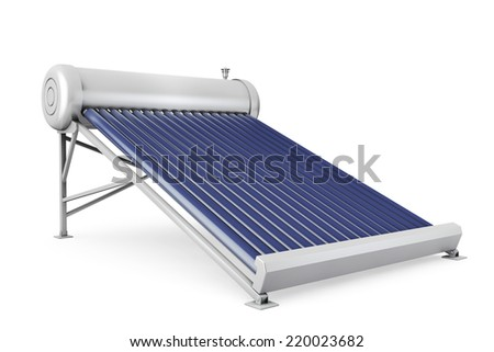 Solar water heater panels on a white background - stock photo