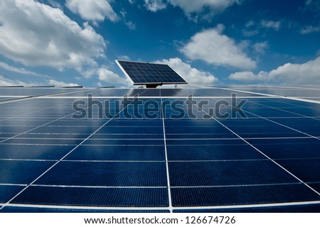 solar with blue sky - stock photo