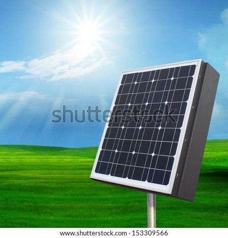 solarcell out door with with sun shining on blue sky for multipurpose - stock photo