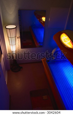 Solarium room in beauty parlor - stock photo