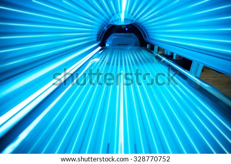 Solarium tanning bed, view from inside  - stock photo