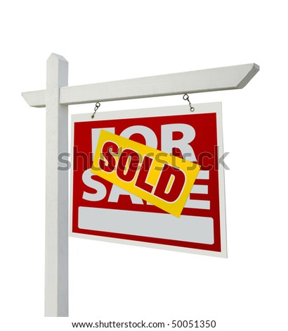 Sold For Sale Real Estate Sign Isolated on a White Background with Clipping Paths - Facing Right. - stock photo