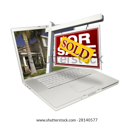 Sold Home for Sale Sign & New Home on Laptop Isolated on a White Background. - stock photo
