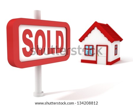 Sold House Real Estate Concept Red Sign - stock photo