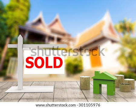 sold house sign  - stock photo
