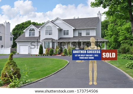 Sold Real Estate Sign held by adult wood mannequin standing in driveway of suburban mcmansion style home residential neighborhood USA blue sky clouds - stock photo