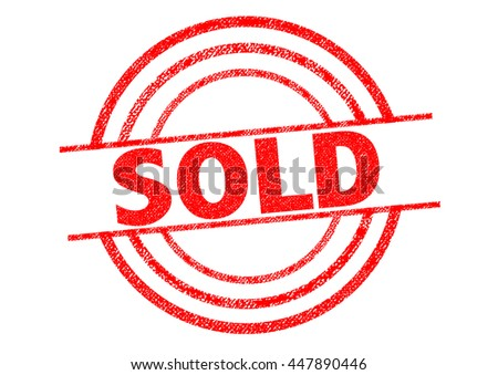 SOLD red Rubber Stamp over a white background. - stock photo
