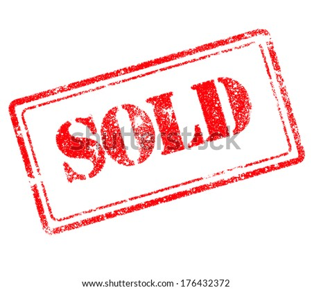 Sold rubber stamp - stock photo