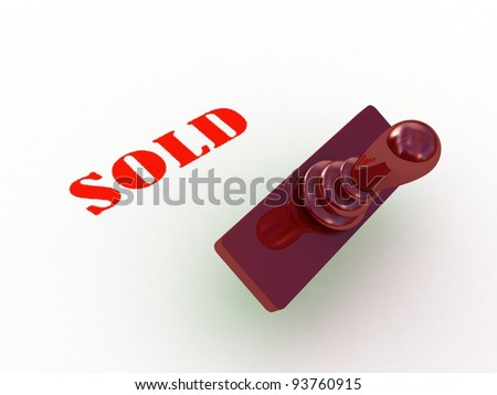 Sold stamp on white background, 3D images - stock photo
