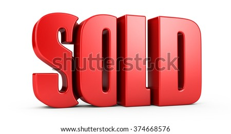 sold text 3d. isolated on white background. - stock photo
