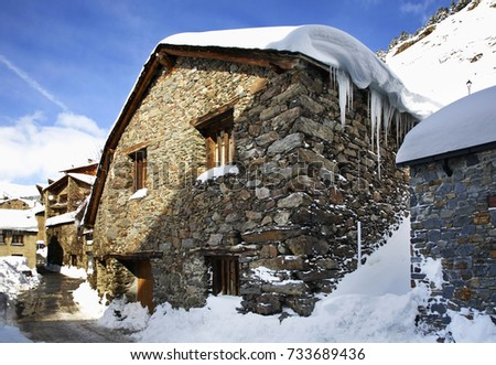 SOLDEU. RUSSIAS. 10 FEBRUARY 2013 : Old stone house in Soldeu. Andorra
