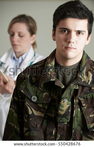 Soldier Being Assessed By Doctor