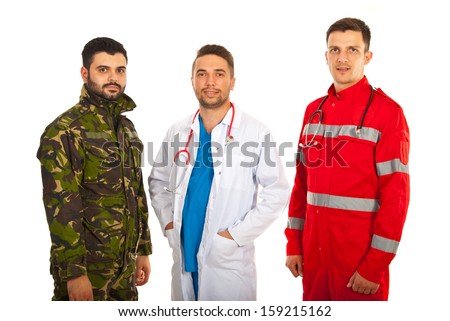 Soldier,doctor and paramedic men in a row isolated on white background