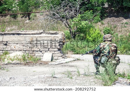 Soldier during the military operation - stock photo