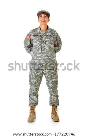 Soldier: Female Standing At Ease - stock photo