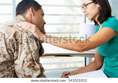 Soldier Having Counselling Session - stock photo