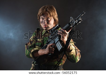 soldier holding a weapon