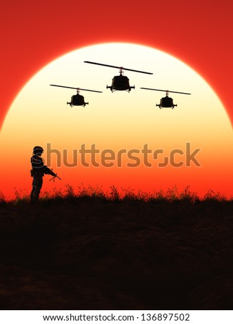 Soldier in the Sunset - stock photo