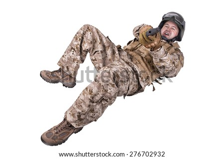 Soldier in uniform, ready to fight - stock photo