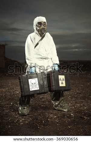 Soldier looking for radiation - stock photo