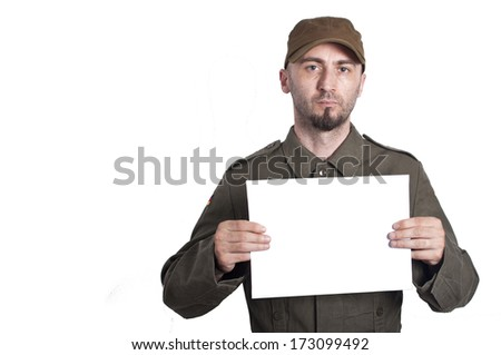 Soldier mugshot isolated on a white background - stock photo