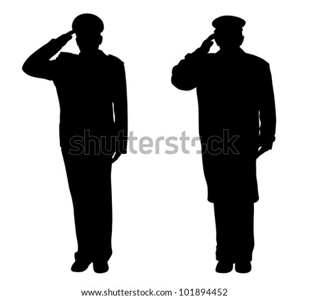 Soldier, officer, captain, policeman, sailor or firefighter saluting - stock photo