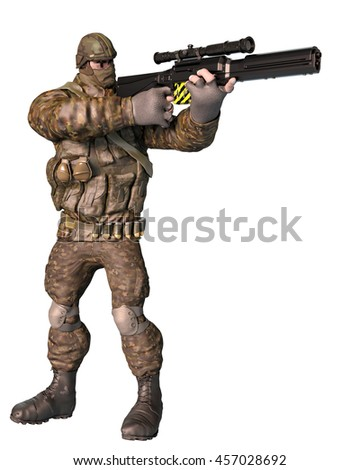 soldier ready to kill 3d illustration