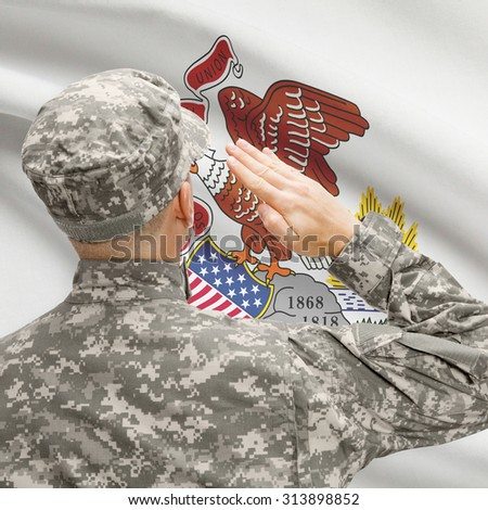 Soldier saluting to USA state flag conceptual series - Illinois