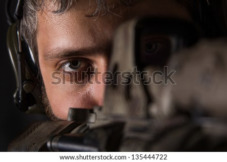 Soldier sniper - stock photo