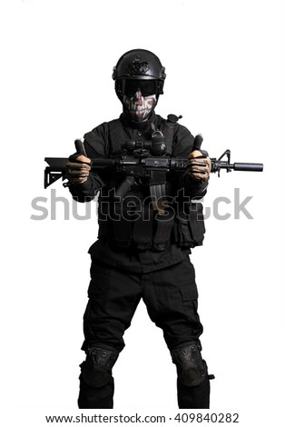 Soldier with a m4 doing victory gesture isolated - stock photo